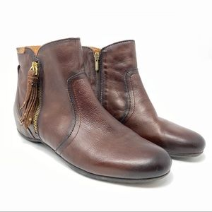 Pikolinos Brown Leather Flat Ankle Boots